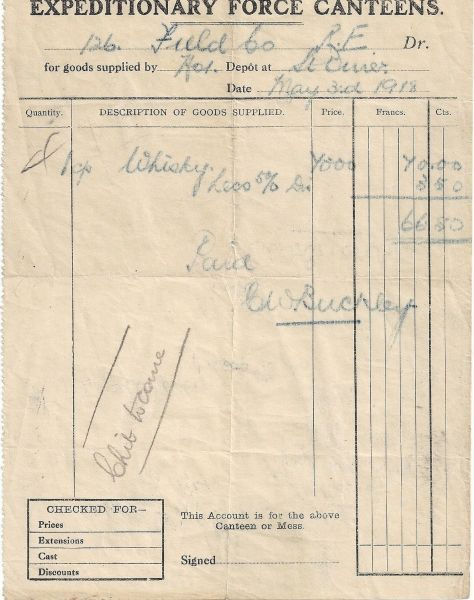 World-War-One-Expeditionary-Force-Canteens-Invoice