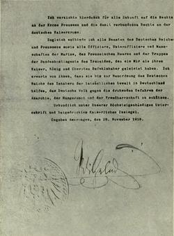 NotaDeAbdicaciónDelKaiser1918